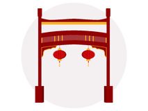 Chinese gate. Historical monument. Paifang.Vector illustration. Chinese gate. Paifang.Vector illustration Royalty Free Stock Image
