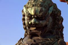 Chinese gatekeeper Lion at Forbidden City stock photos