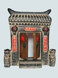 Chinese gates. A model of Chinese gates, with happiness' wishes, traditional art, isolated object Stock Photos