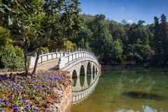 Chinese gazebo in the city pond Royalty Free Stock Photo