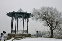 Chinese gazebo in the snow in the winter. The photo was taken in the Spa town of Pyatigorsk on a grief Mashuk Stock Photo