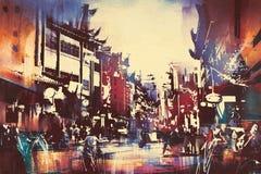 Chinese gebouwen met mensen die in stadsstraat lopen Stock Afbeeldingen
