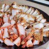 Chinese gegrilltes rotes Schweinefleisch und knusperiger Schweinebauch Stockfotos