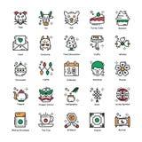 Chinese Geplaatste Nieuwjaar Vlakke Pictogrammen royalty-vrije illustratie