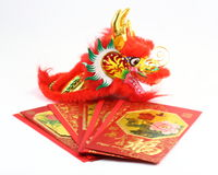 Chinese  gift envolop dragon. Chinese New Year dragon gift envelop  CNY Stock Images