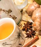 Chinese Ginger Tea Shows Teacups Teas And Refreshments. Chinese Ginger Tea Representing Refreshment Herbals And Refreshments stock images