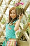 Chinese girl. Beautiful girl in the botanic gardens in china Royalty Free Stock Image