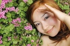 Chinese girl. Beautiful girl in the botanic gardens in china Stock Photography