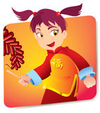 Chinese Girl. Pink Haired Japanese Girl In Cultural Clothes, Holding A Lighter And Igniting Firecrackers on New Years royalty free illustration