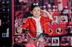 Chinese girl. A beautiful Chinese Modern girl on the motorcycle Stock Photos