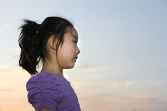 Chinese girl. The Chinese girl was looking far. This photograph was taken in her 5 years old Royalty Free Stock Image