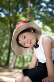 A chinese girl. With a sun-hat Stock Image