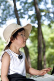 A chinese girl. With a sun-hat Stock Images