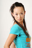 Chinese girl. Modern Chinese girl in blue T-shirt Stock Photo