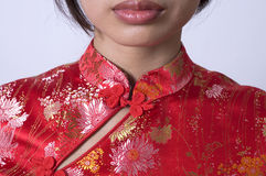 Chinese girl. Close up of chinese girl in cheong sam stock photos