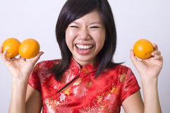 Chinese girl. Photo of chinese girl in cheong sam royalty free stock photos