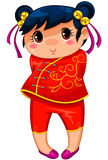 Chinese girl. Little Chinese girl drawn in manga style Royalty Free Stock Image