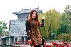 Chinese Girl. In the ancient city of the taierzhuang visit Chinese girl Royalty Free Stock Images