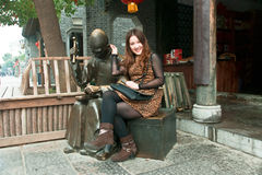 Chinese Girl. In the ancient city of the taierzhuang visit Chinese girl Stock Image