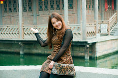 Chinese Girl. In the ancient city of the taierzhuang visit Chinese girl Stock Photos
