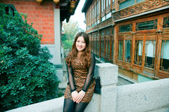 Chinese Girl. In the ancient city of the taierzhuang visit Chinese girl Royalty Free Stock Image
