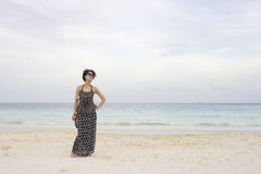 Chinese girl on beach Stock Image