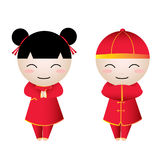 Chinese Girl-Boy Greetings Royalty Free Stock Photography
