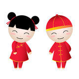 Chinese Girl-Boy Greetings Royalty Free Stock Images