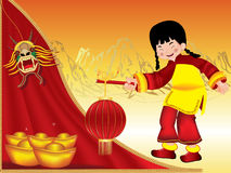 Chinese girl carrying an oriental paper lantern Royalty Free Stock Images