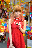 A Chinese girl celebrate Chinese New Year Stock Images
