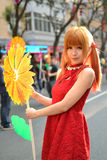 A Chinese girl celebrate Chinese New Year. A Chinese girl visiting Spring Festival Flower Market, to celebrate Chinese New Year.In guangzhou, the annual winter Royalty Free Stock Photography