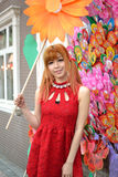 A Chinese girl celebrate Chinese New Year. A Chinese girl visiting Spring Festival Flower Market, to celebrate Chinese New Year.In guangzhou, the annual winter Stock Photos