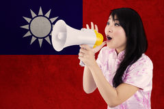 Chinese girl congratulate Chinese new year Stock Photos