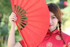 Chinese girl with dress traditional Cheongsam Royalty Free Stock Images