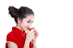 Chinese girl drink a tea Royalty Free Stock Image