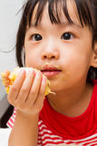 Chinese Girl Eating Durian Royalty Free Stock Images