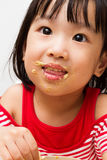 Chinese Girl Eating Durian Stock Image