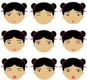 Chinese girl emotions: joy, surprise, fear, sadness, sorrow, cry Stock Photography