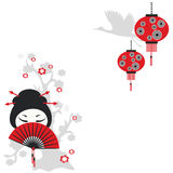 Chinese girl with a fan Royalty Free Stock Photo