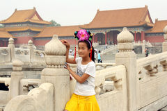 Chinese girl in Forbidden City Royalty Free Stock Photos