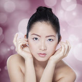 Chinese girl with fresh elegant face Royalty Free Stock Photography