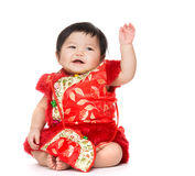 Chinese girl hand up Royalty Free Stock Image