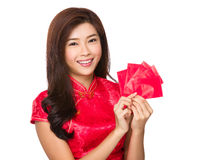 Chinese girl hold with lucky money Royalty Free Stock Photos