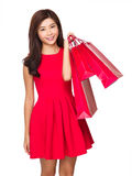 Chinese girl hold with shopping bag Royalty Free Stock Images