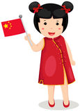 Chinese girl holding flag Royalty Free Stock Photography