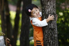 Chinese girl holding the tree. The Chinese girl are holding the big tree. This photograph was taken in her 26 months Royalty Free Stock Photo