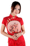 Chinese Girl In Traditonal Dress With Fan Stock Image