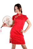 Chinese Girl In Traditonal Dress With Fan Royalty Free Stock Image