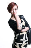 Chinese girl Kua shoulder bag Royalty Free Stock Photos