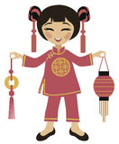 A chinese girl with lantern Stock Image